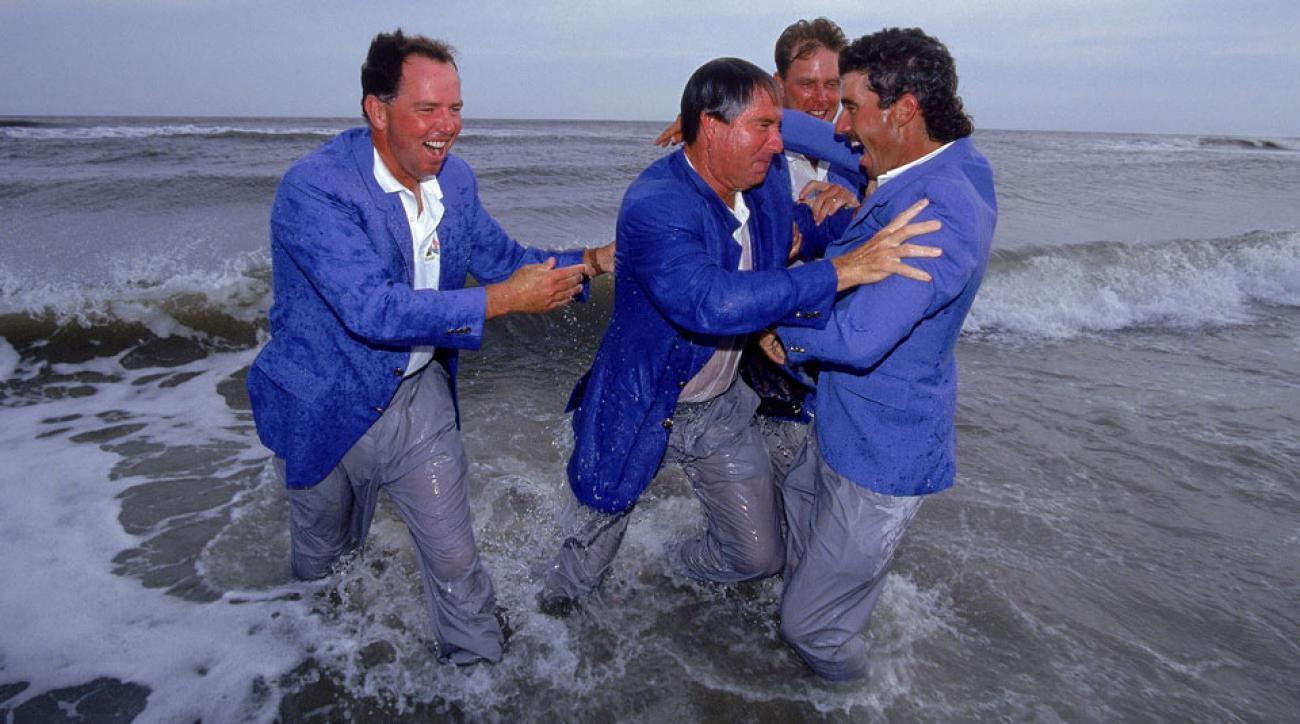 In 1991, Team USA made a big splash at Kiawah. Left to right: Mark O'Meara, Dave Stockton, Payne Stewart and Corey Pavin.