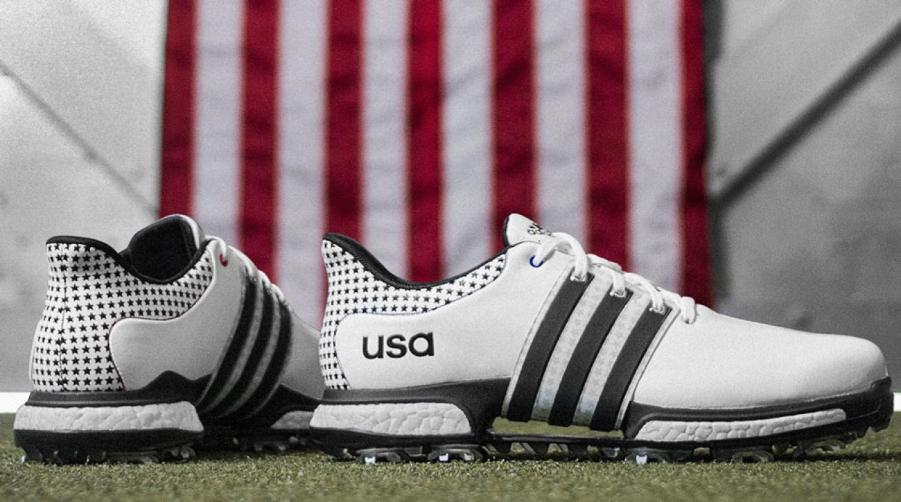 The USA model of adidas' Chaska edition TOUR360 Boost golf shoes.