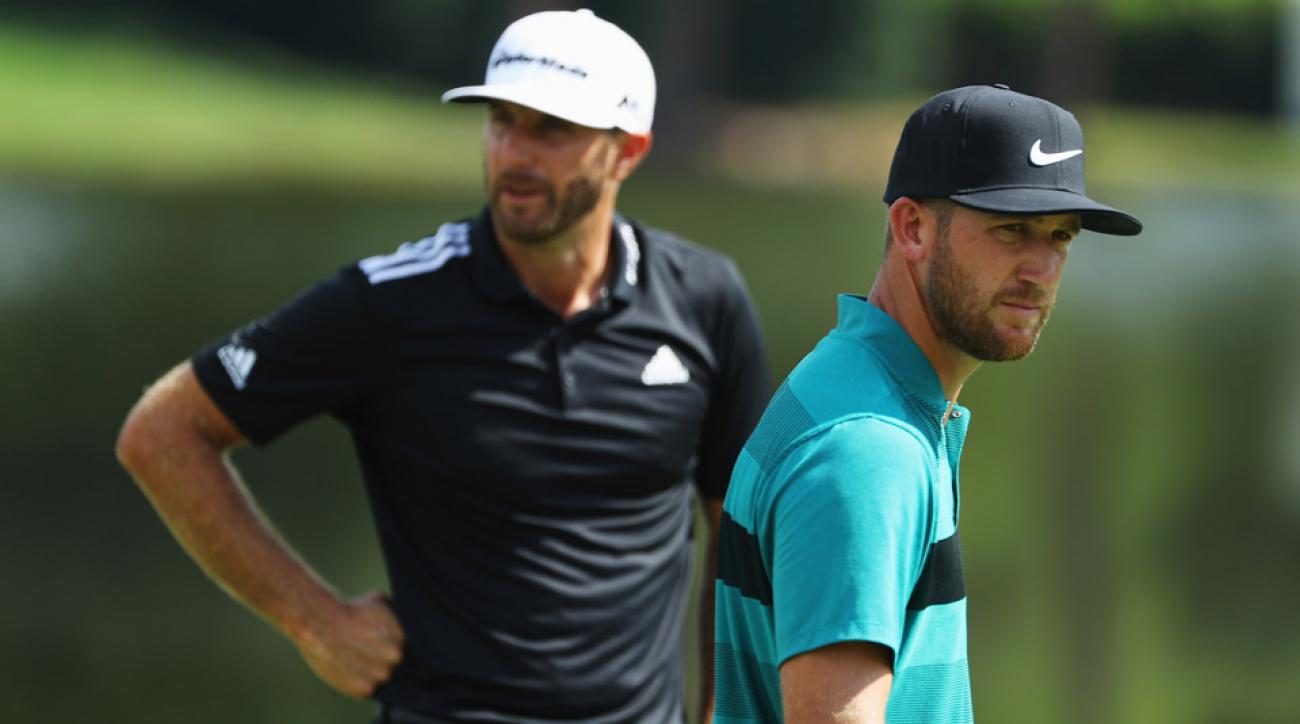 Dustin Johnson and Kevin Chappell on Saturday at the 2016 Tour Championship.