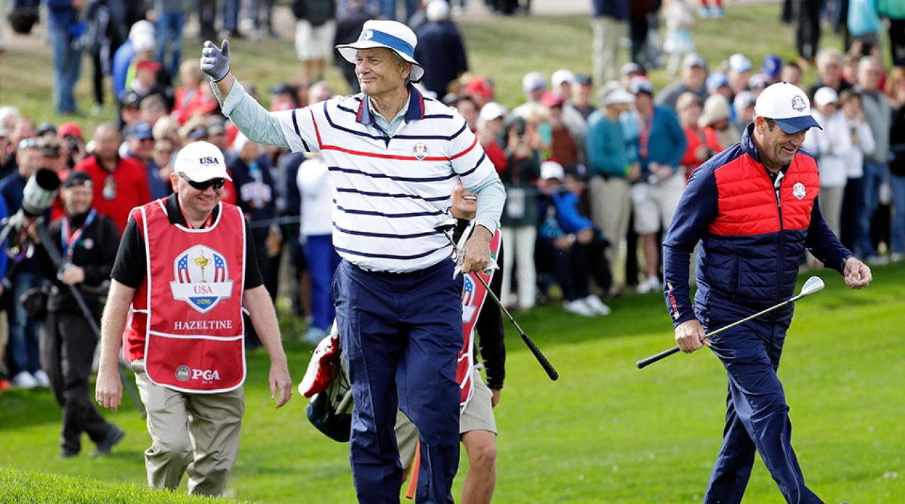 Actor Bill Murray of the United States reacts after a shot during the 2016 Ryder Cup Celebrity Matches at Hazeltine National Golf Club on September 27, 2016 in Chaska, Minnesota.