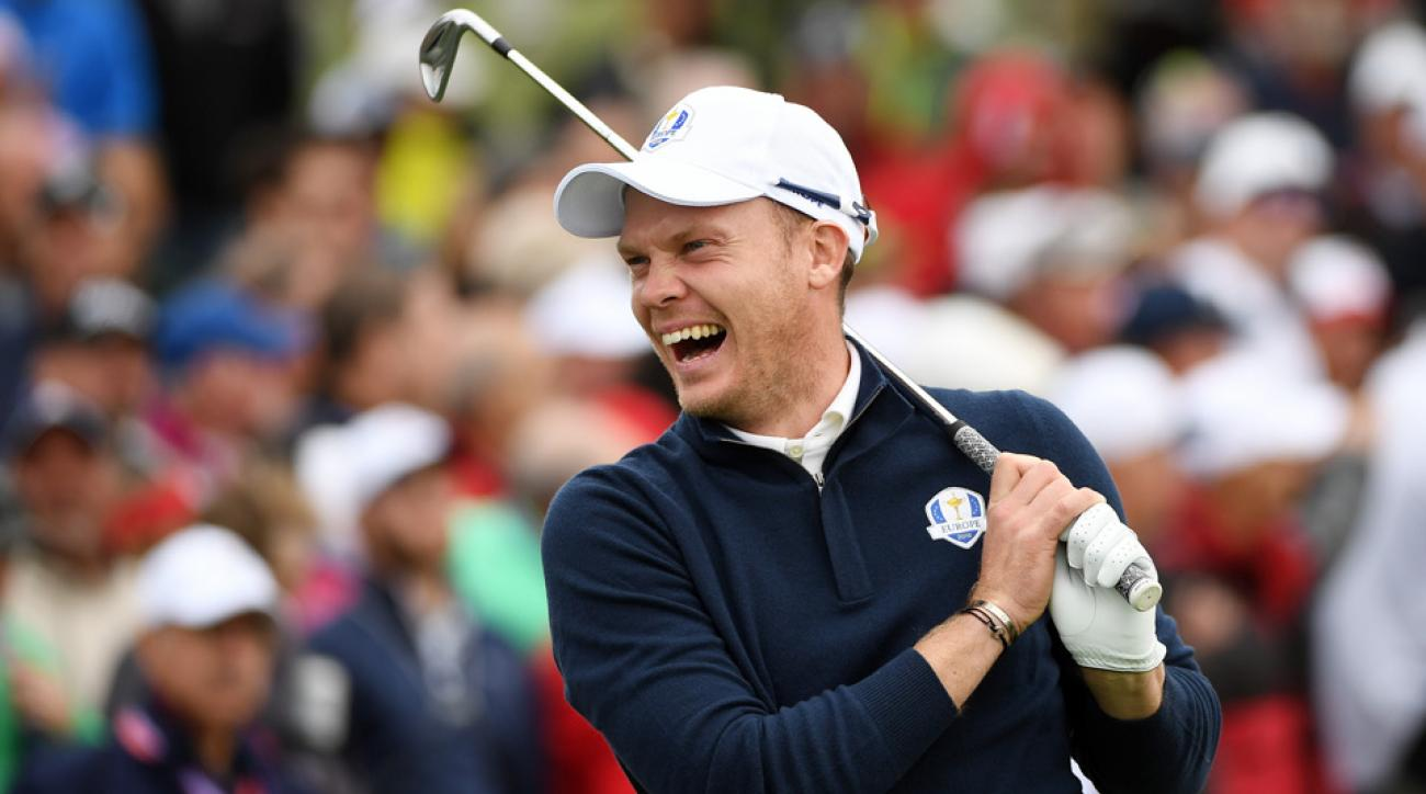 Danny Willett practices for the Ryder Cup Tuesday at Hazeltine.
