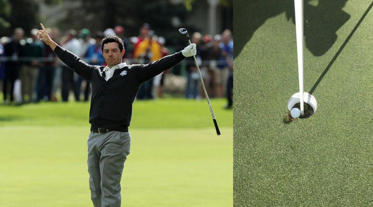 Photos from Rory McIlroy's bizarre hole out on Thursday at Hazeltine.