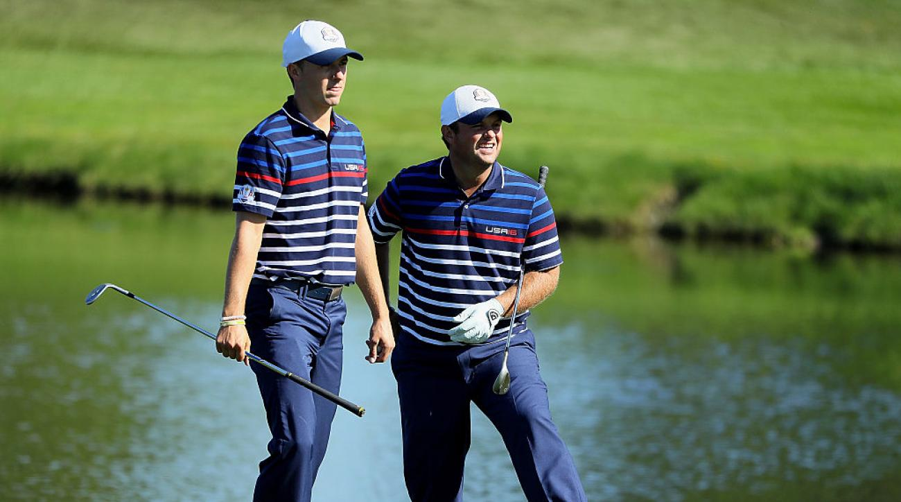 Jordan Spieth and Patrick Reed during a practice round at the 2016 Ryder Cup.