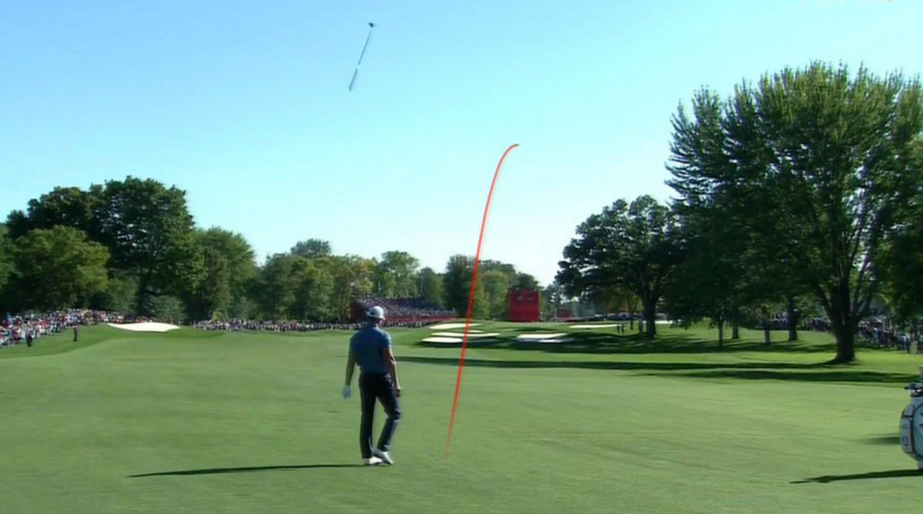 Despite flaring this shot right, Henrik Stenson and Justin Rose won 5 and 4.