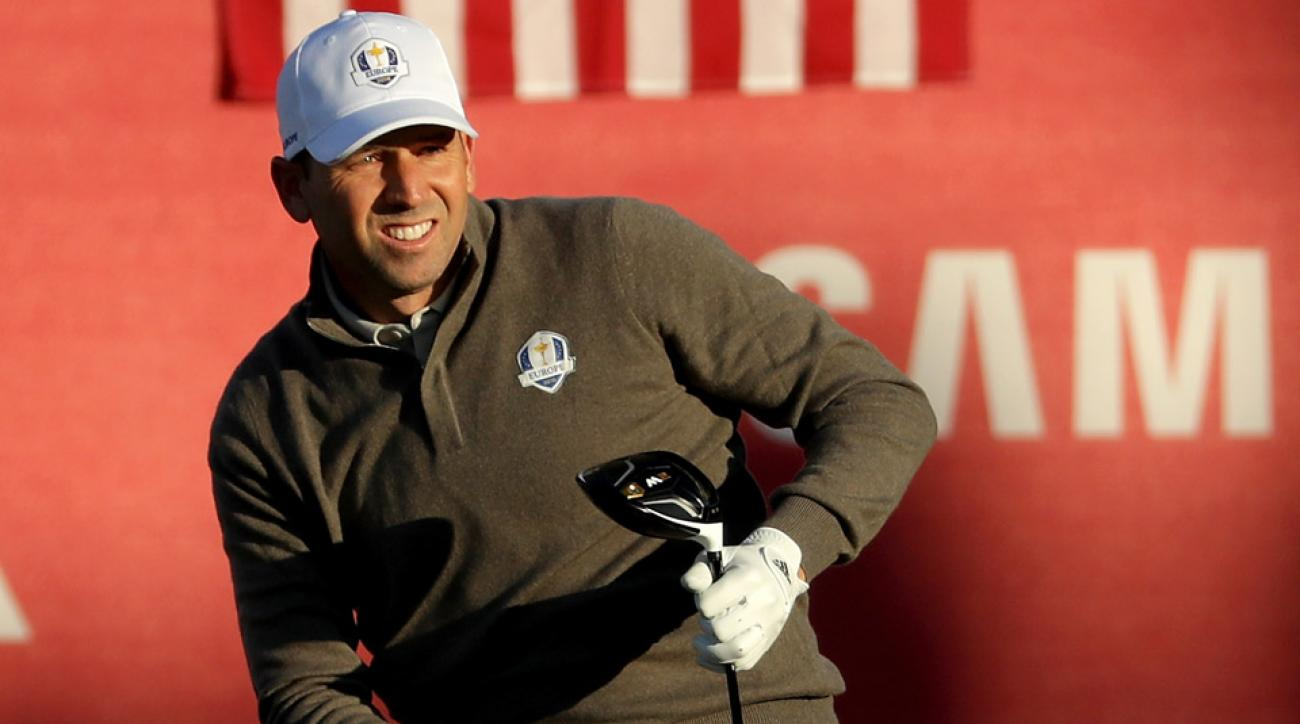 Sergio Garcia hits a tee shot Saturday at the Ryder Cup.