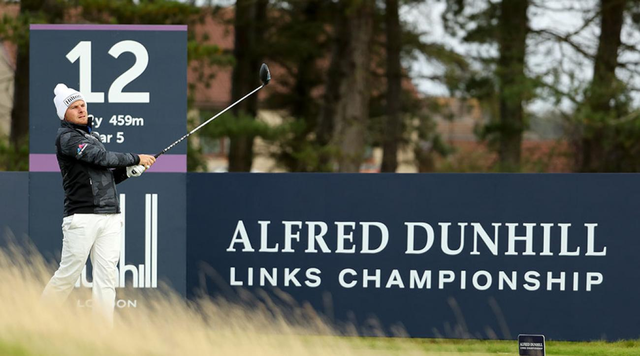 Tyrrell Hatton of England drives off the 12th tee during the first round of the Alfred Dunhill Links Championship on the Championship Course, Carnoustie on October 6, 2016 in Carnoustie, Scotland.