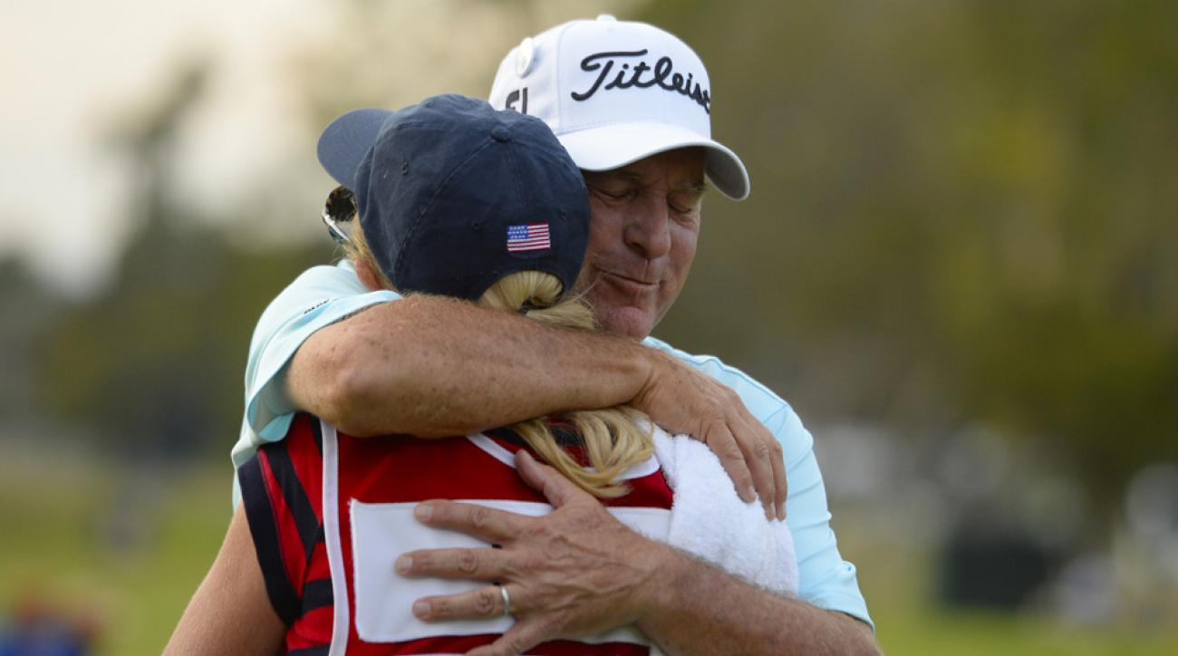 Jay Haas hugs his wife and caddie Jan after winning the Toshiba Classic at Newport Beach Country Club.