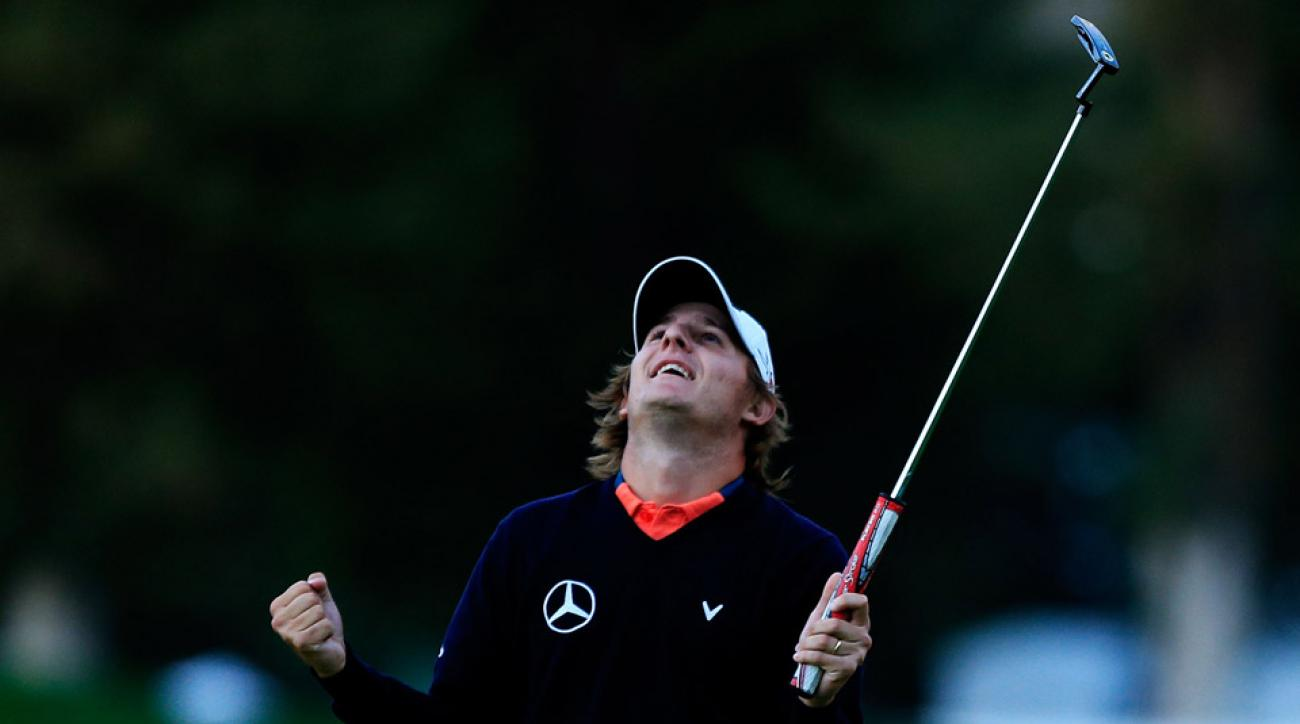 Emiliano Grillo of Argentina celebrates after winning in the final round of the Frys.com Open on October 18, 2015 at the North Course of the Silverado Resort and Spa.