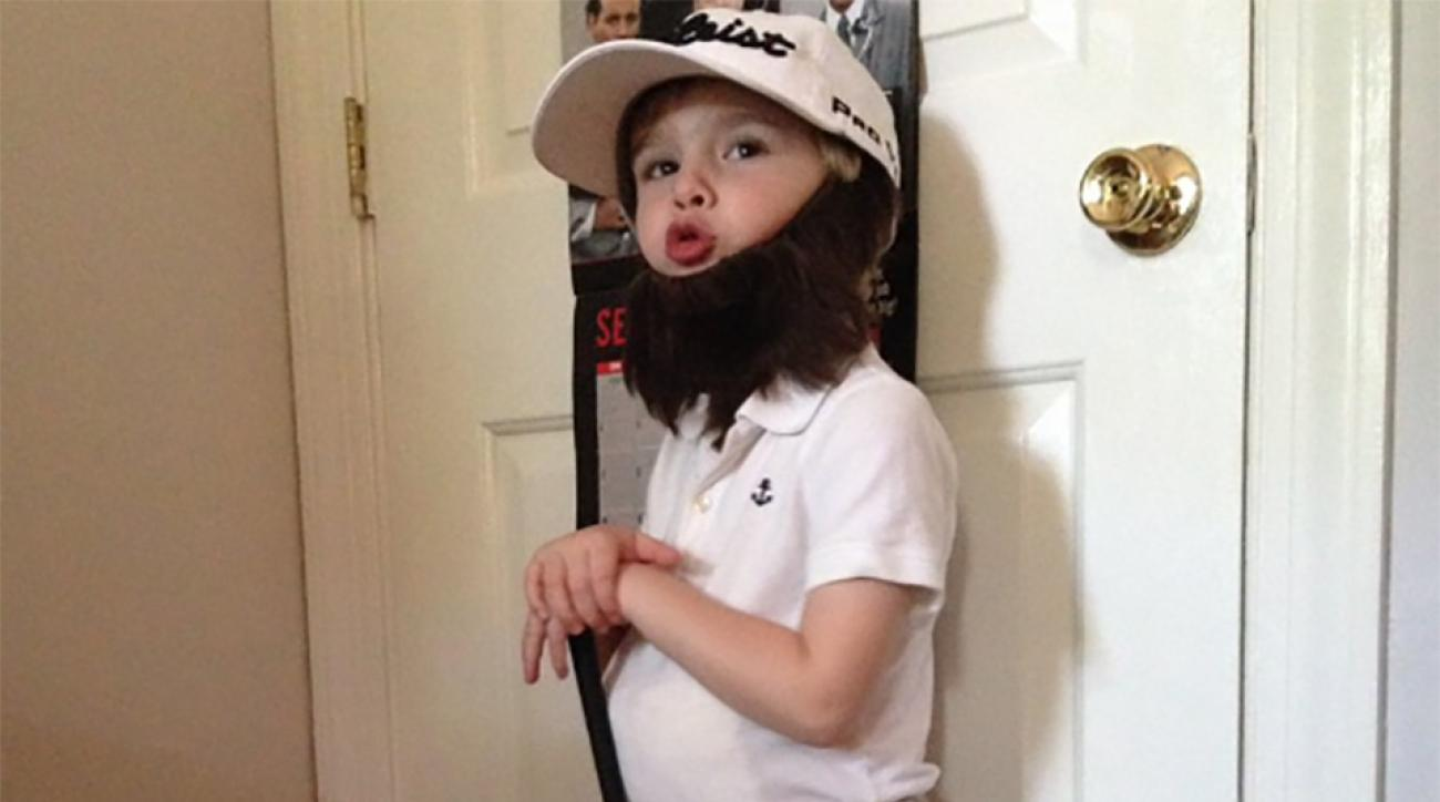 Tate Price, 4, models his Andrew 'Beef' Johnston Halloween costume.