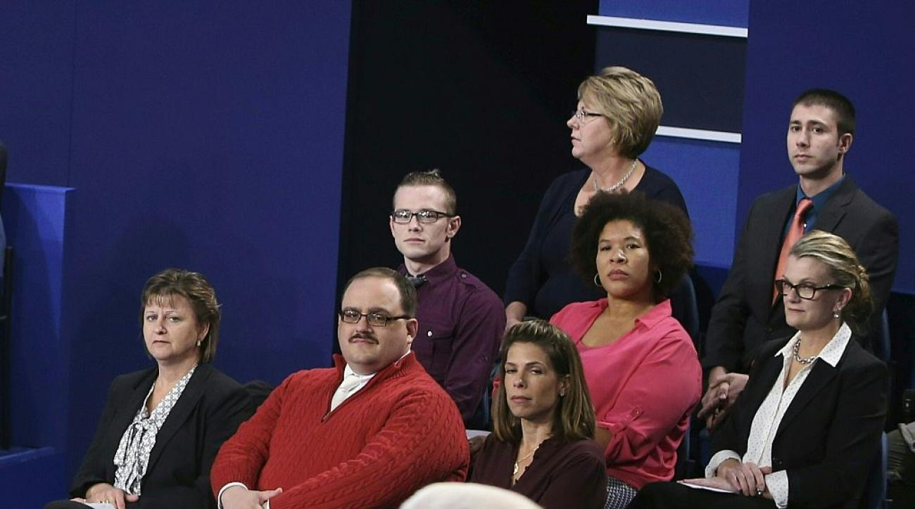 Ken Bone at the presidential debate last Sunday night in his iconic red sweater.