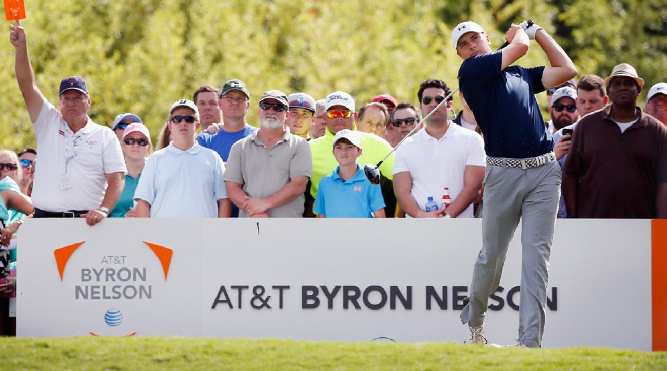 Jordan Spieth tees off on the 9th hole during the third round of the AT&T Byron Nelson at TPC Four Seasons Resort at Las Colinas in 2015.