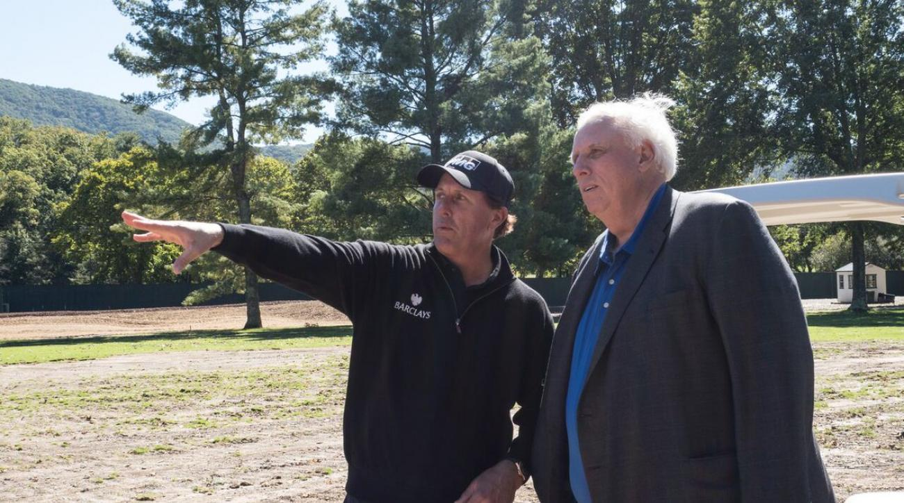 Phil Mickelson on site at the Greenbrier working on plans to transform the damaged golf course.