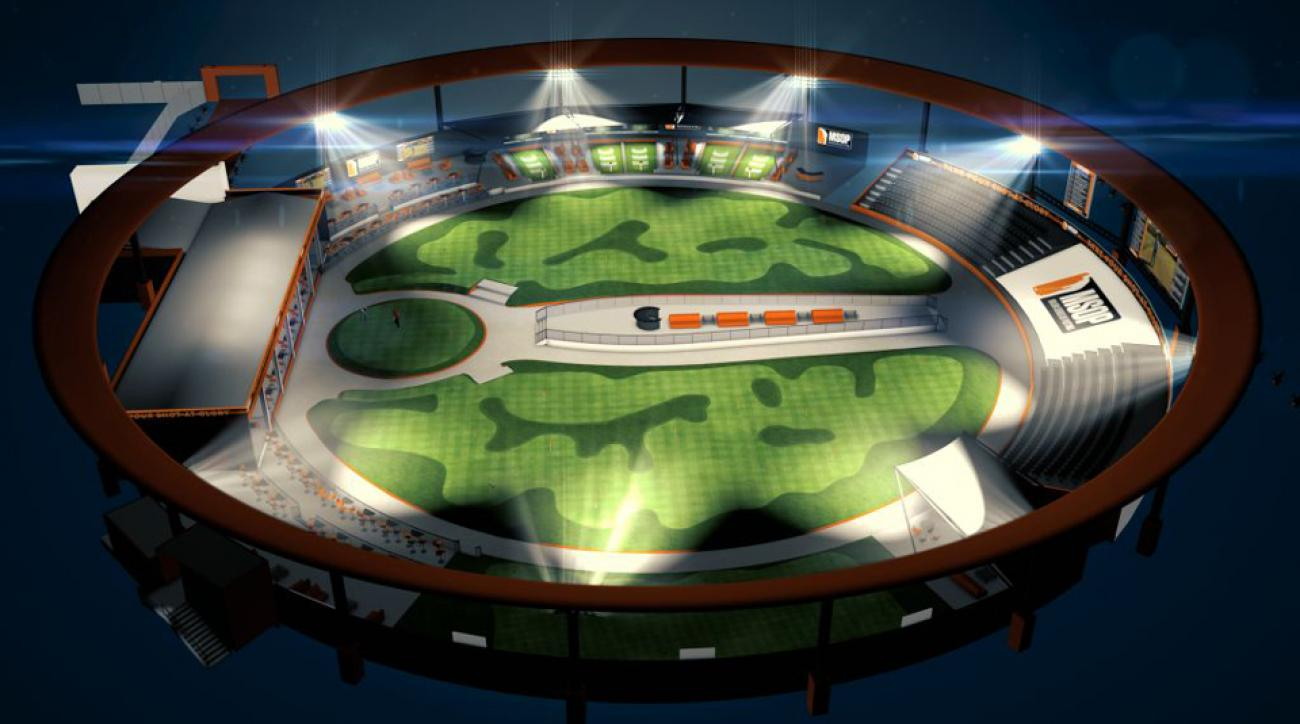 An early draft of the temporary arena that will host the Major Series of Putting in Las Vegas in March.