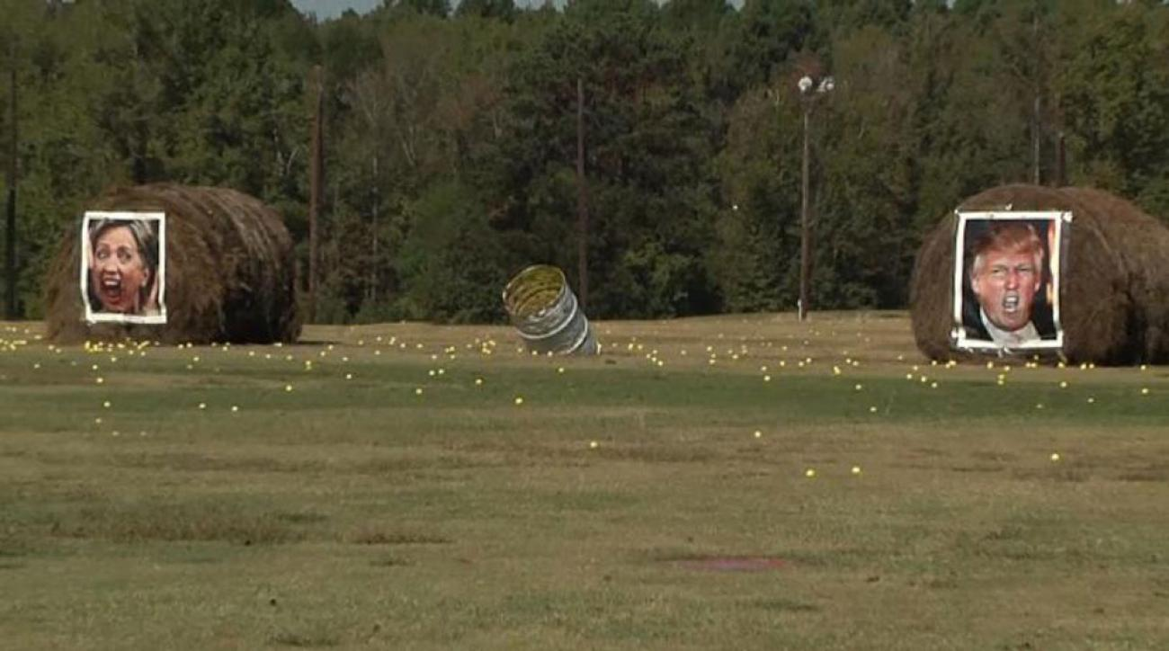 Hillary Clinton and Donald Trump became unwitting targets at this Texas driving range.
