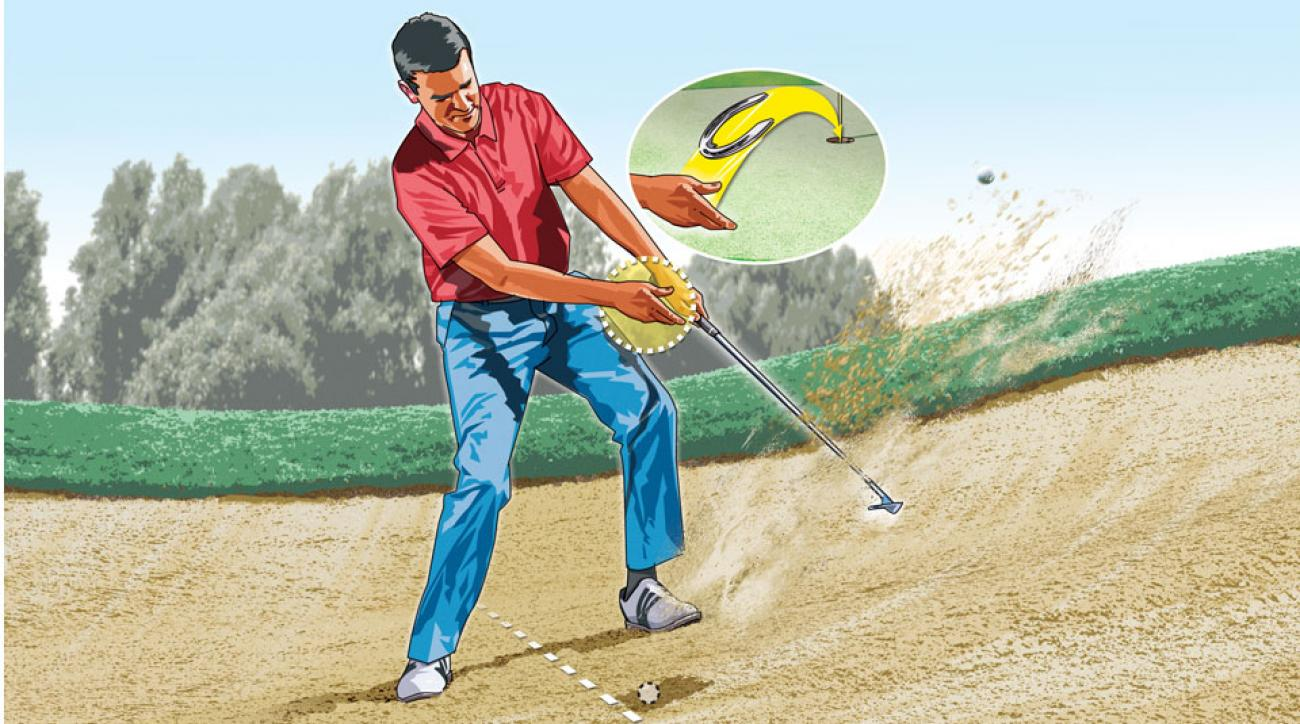 As the club contacts the sand, let go of your wedge with your right hand. This reduces spin—the ball will pop out and land softly on the green.