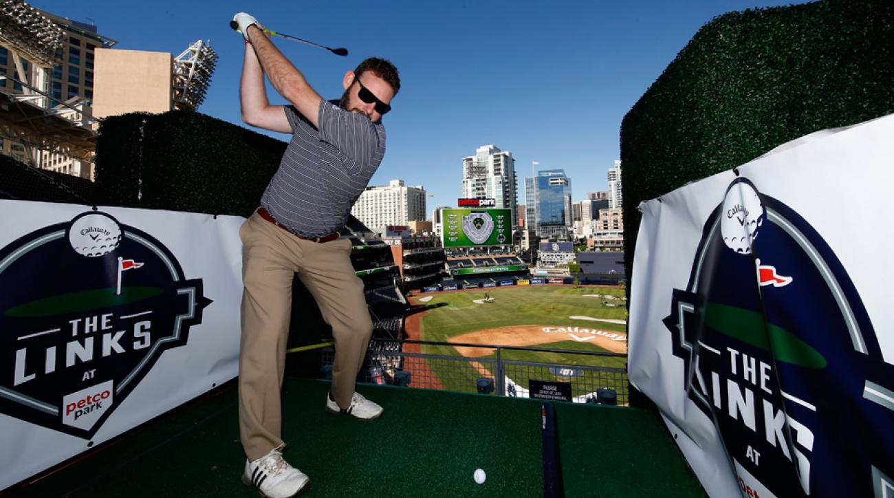 Jeremy Van Leeuwen of Escondido  hits off a tee during The Links at Petco Park on November 5, 2015 in San Diego, California.