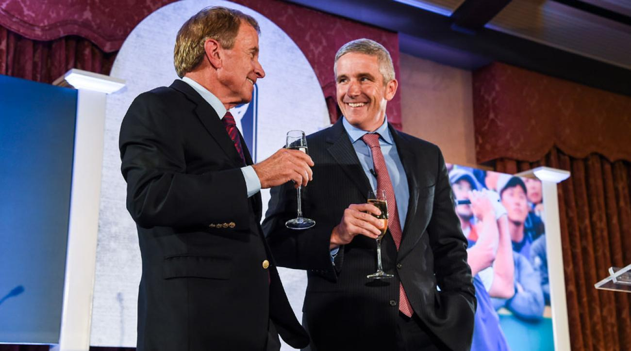 Jay Monahan, right, will take over for Tim Finchem as PGA Tour Commissioner on Jan. 1.