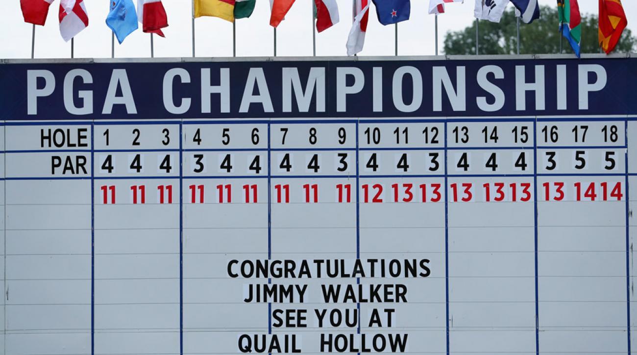 The leaderboard at Baltusrol after the 2016 PGA Championship.