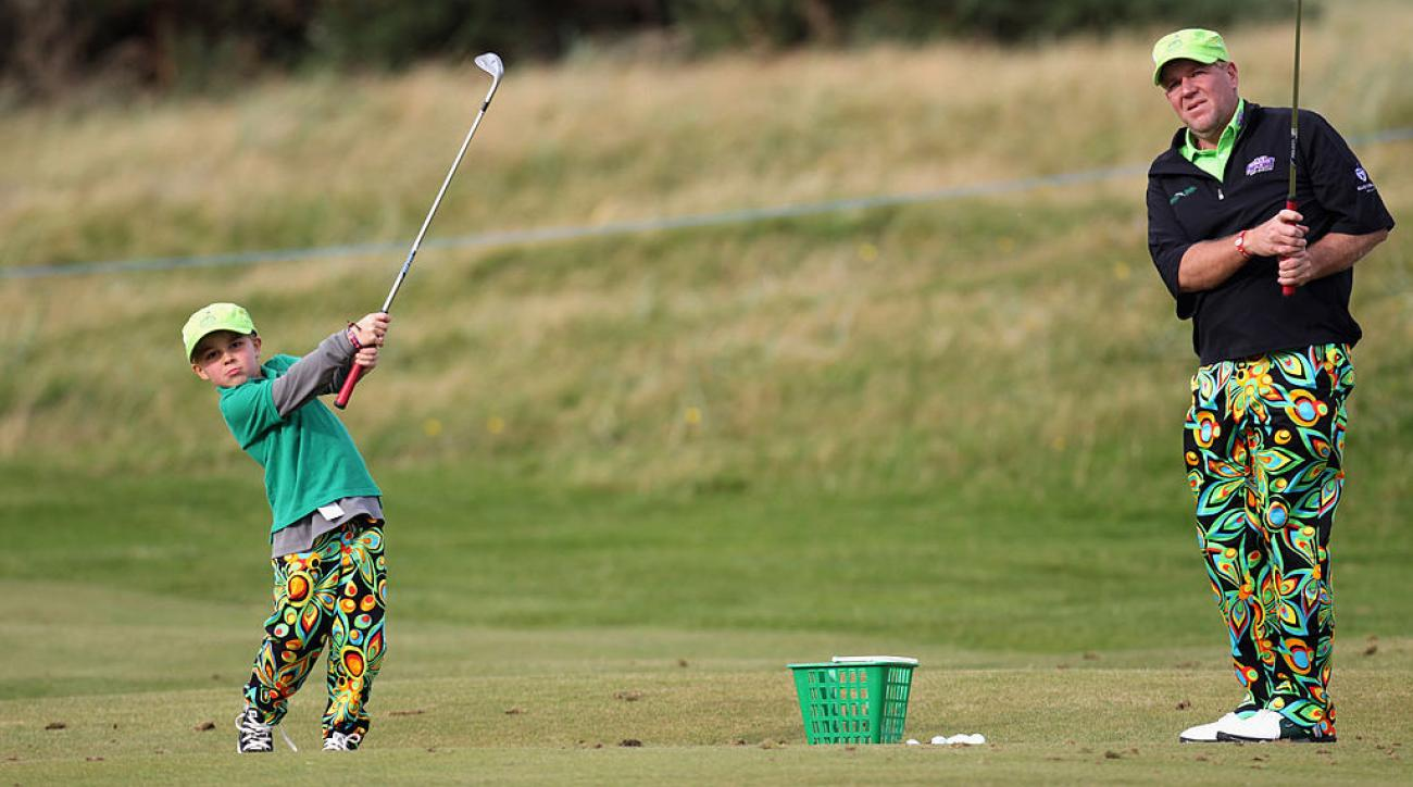 John Daly and his son at the Old Course in St. Andrews, Scotland in 2011, when his son was 8.
