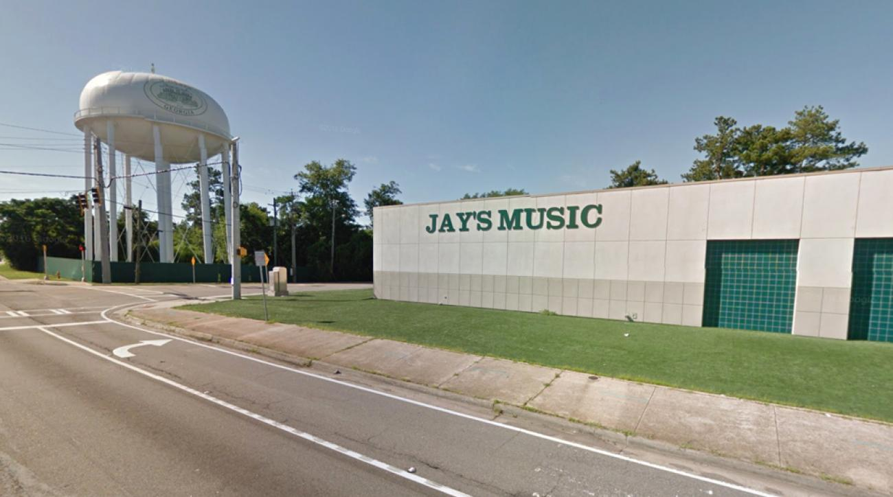 Jay's Music Center with Augusta National sitting behind it.