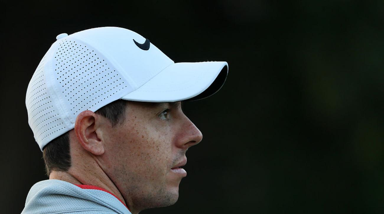 Rory McIlroy looks down the 1st hole during a pro-am round ahead of the DP World Tour Championship at Jumeirah Golf Estates.