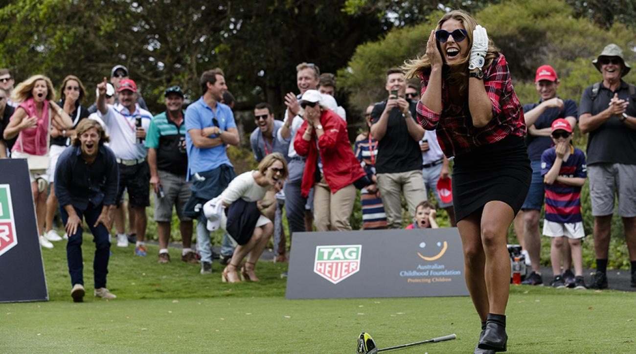 Torah Bright after teeing-off straight into a cameraman at the Tag Heuer Hole In One Challenge at the Royal Sydney Golf Club.