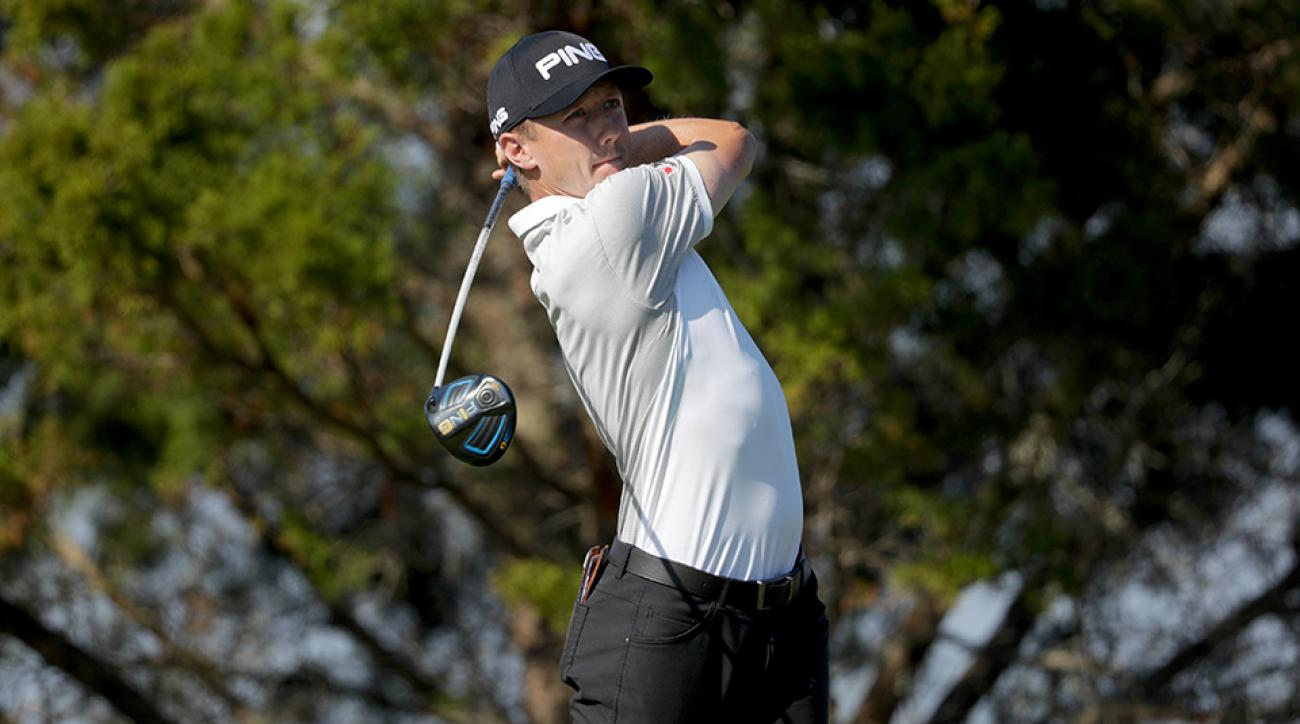 Mackenzie Hughes plays his tee shot on the 7th hole during the third round of the 2016 RSM Classic at Sea Island Resort Seaside Course.