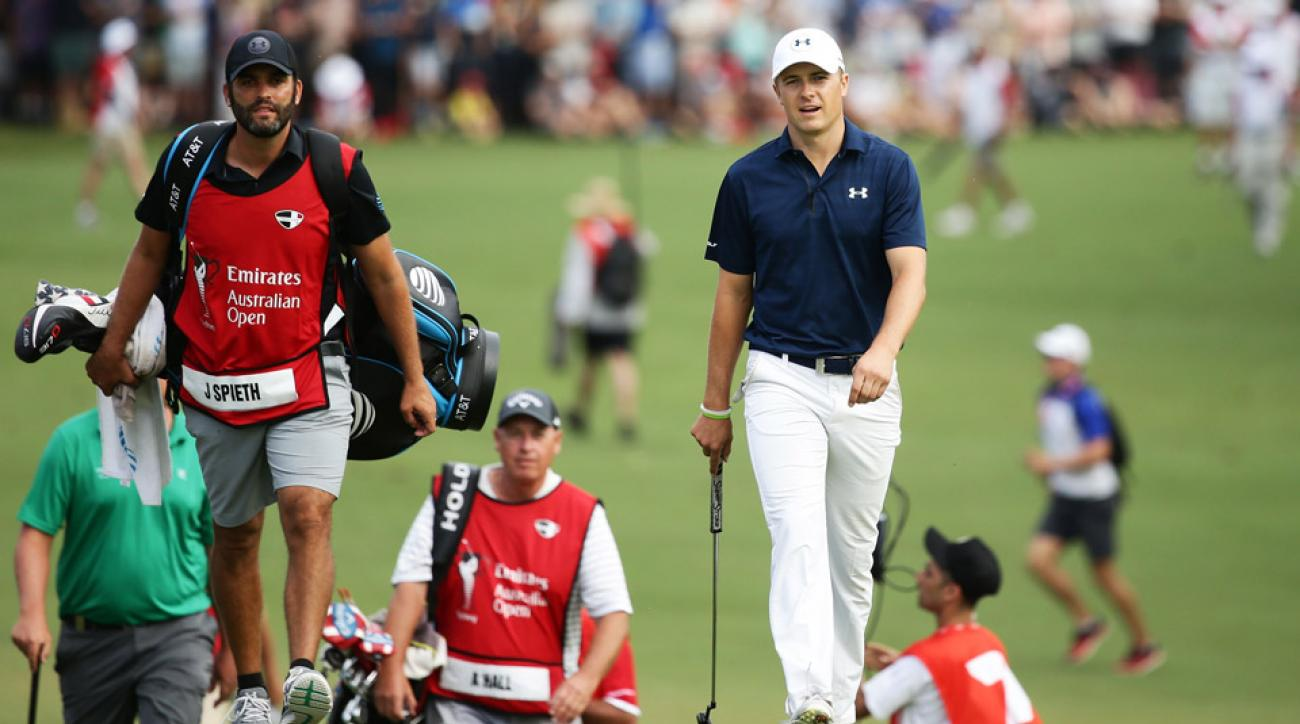 Jordan Spieth and caddie Michael Greller on Sunday at the Australian Open.