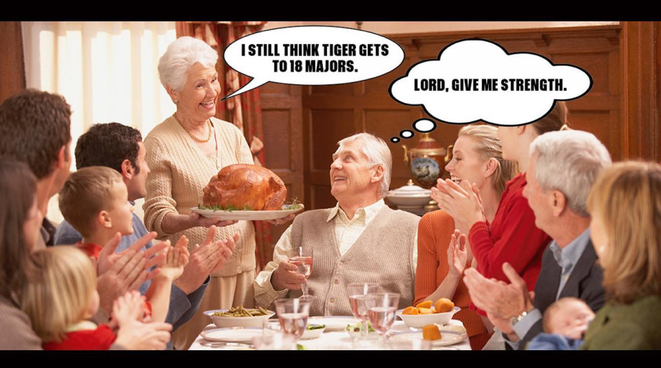 Talking golf at Thanksgiving Day dinner? Tread carefully.