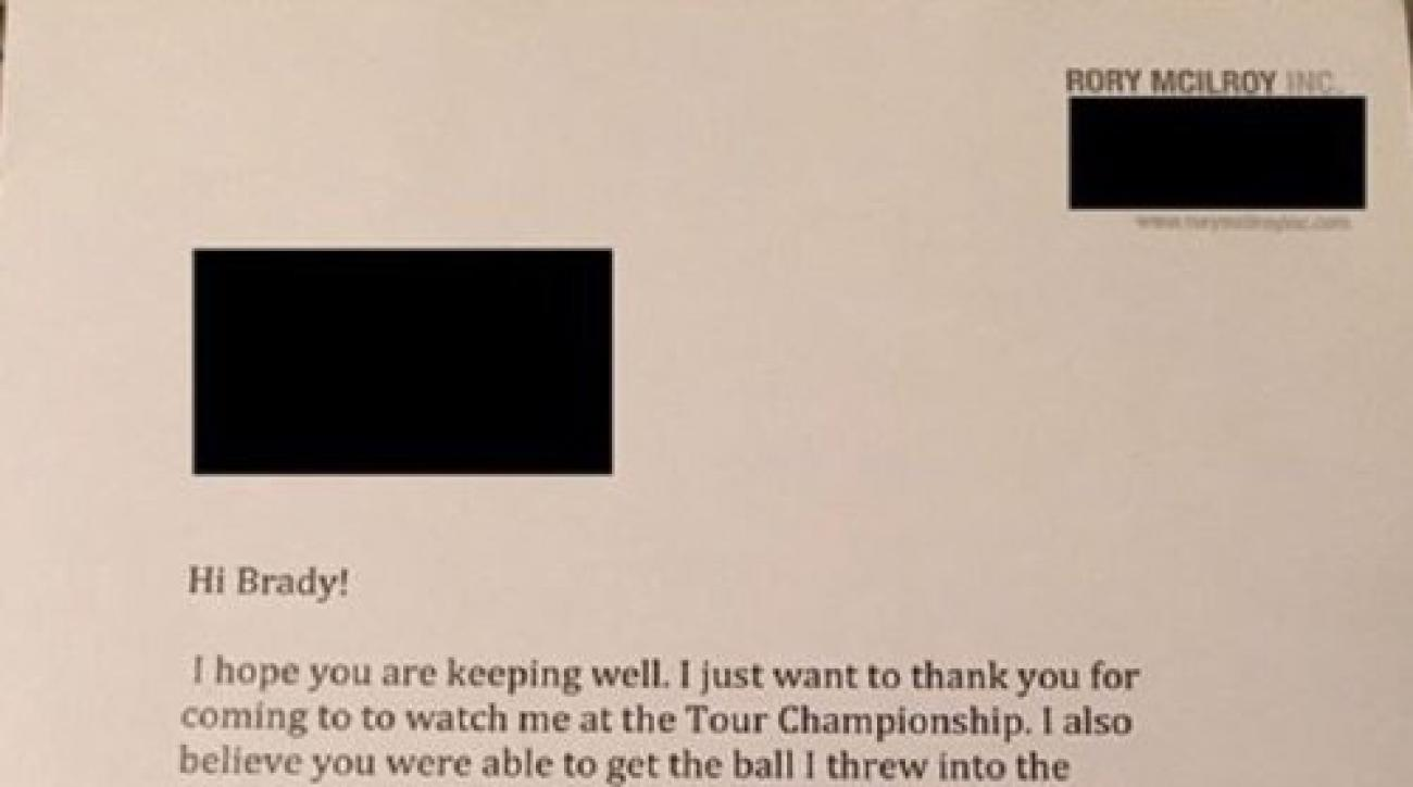 One lucky fan not only received McIlroy's memorable ball from the Tour Championship, they also received a letter from the 27-year-old golfer.
