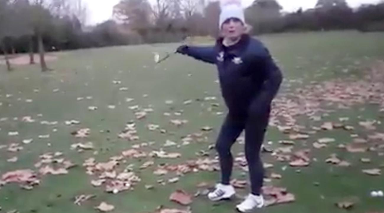 Watch this lady get a hole-in-one during her first lesson.
