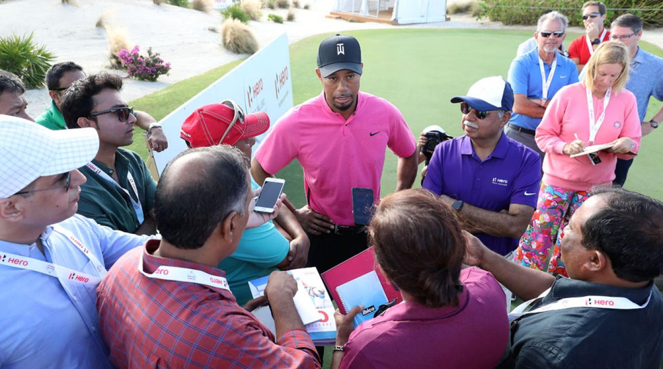 Tiger Woods speaking to the media at the 2016 Hero World Challenge.