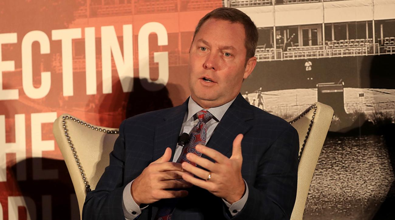 LPGA Commissioner Mike Whan speaks during the HSBC Golf Business Forum on November 30, 2016.