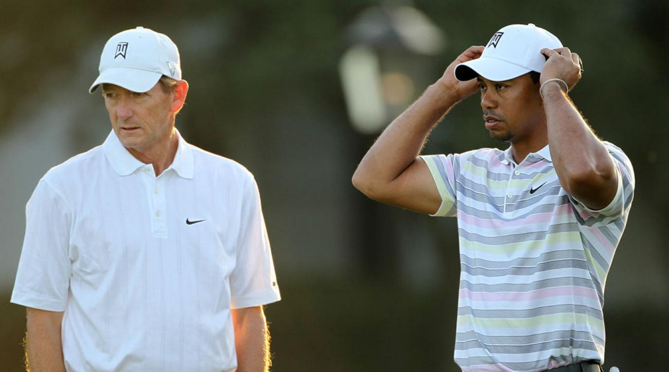 Hank Haney and Tiger Woods at the 2010 Masters.