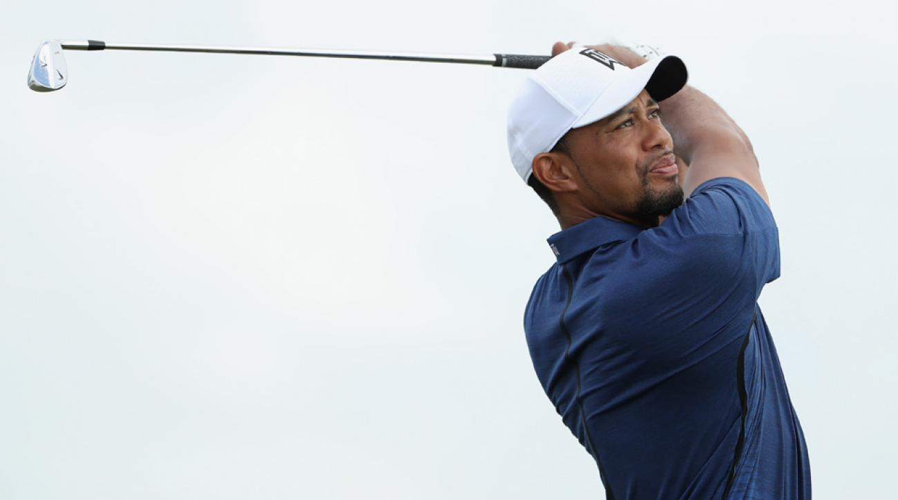 Tiger Woods hits a shot on the 2nd tee during Round 2 of the Hero World Challenge at Albany.