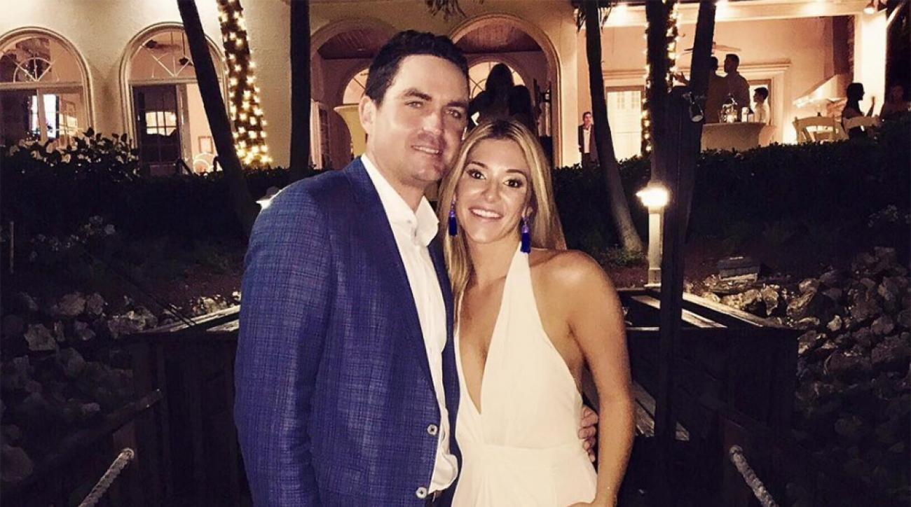 Keegan Bradley and Jillian Stacey pose after their wedding rehearsal dinner.