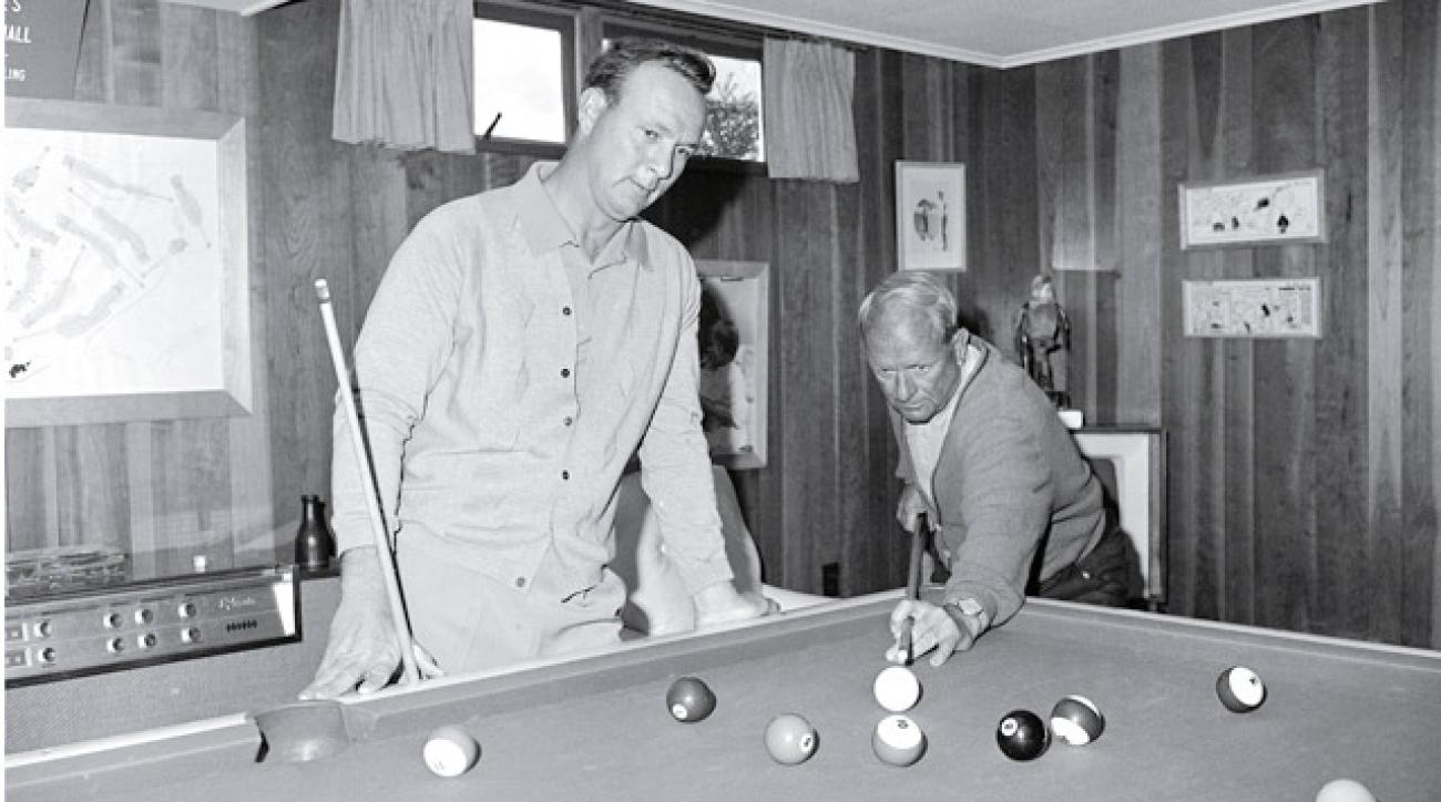 "Arnold Palmer at his Latrobe, Pa., home with his father, W.J. ""Deacon"" Palmer on April 15, 1964,"