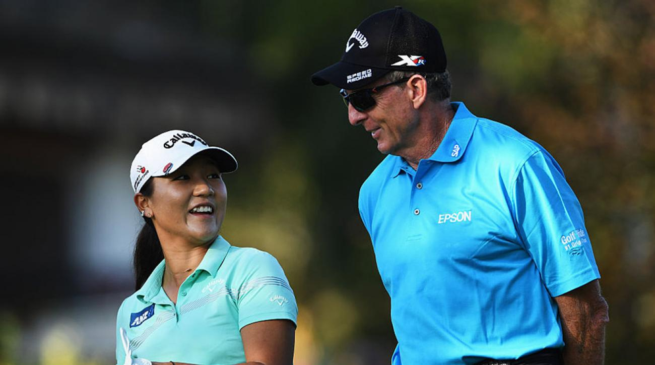 David Leadbetter and his student Lydia Ko in September prior to the start of the Evian Championship in France.