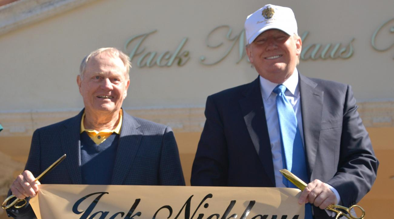 Jack Nicklaus stands with Donald Trump at the unveiling of the Jack Nicklaus Villa at Trump Doral at Trump National Doral in 2015.