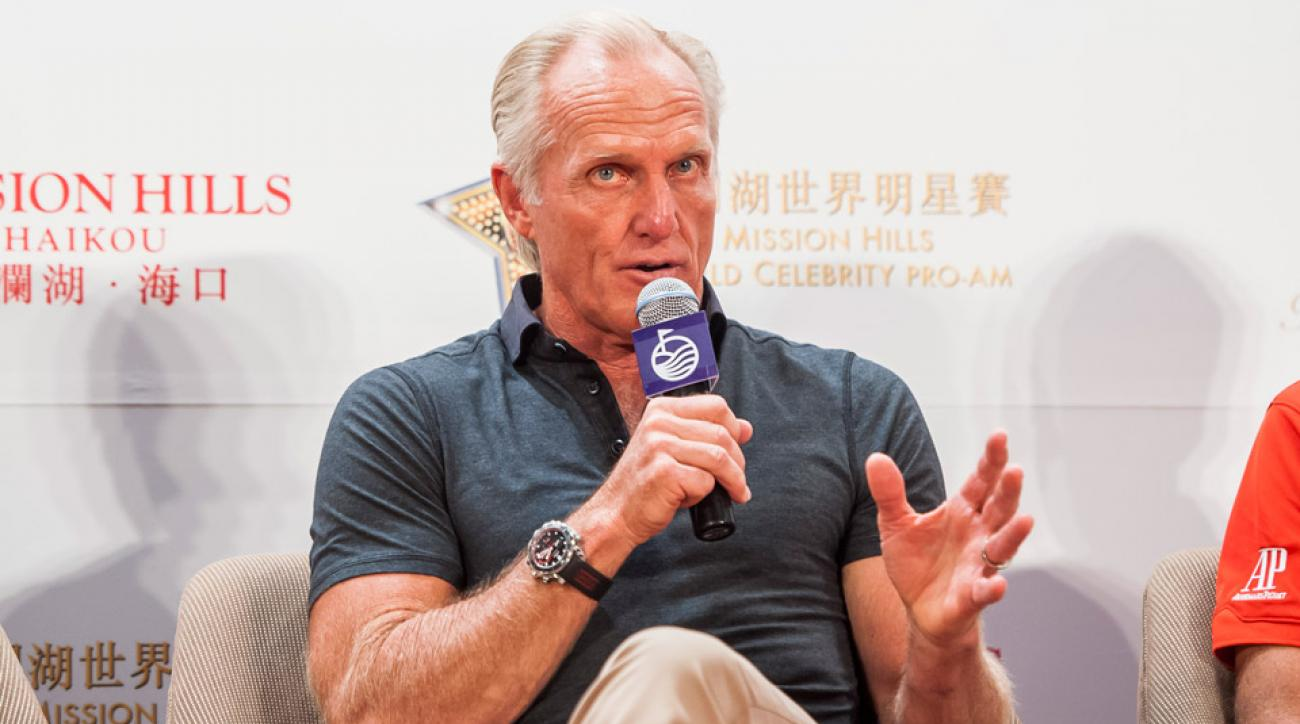 Greg Norman of Australia attends a press conference during the Mission Hills Celebrity Pro-Am on 24 October 2014.