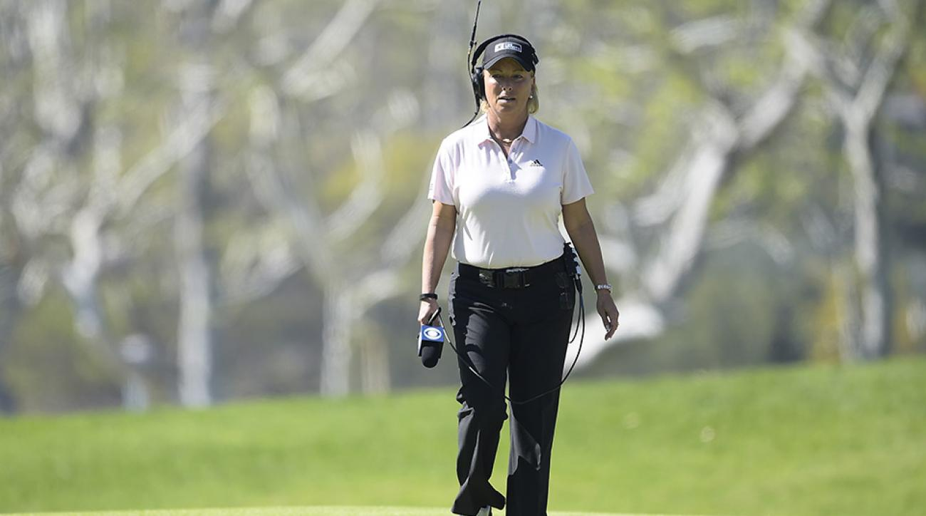 Dottie Pepper walks the 7th fairway during the final round of the 2016 Northern Trust Open at Riviera Country Club.