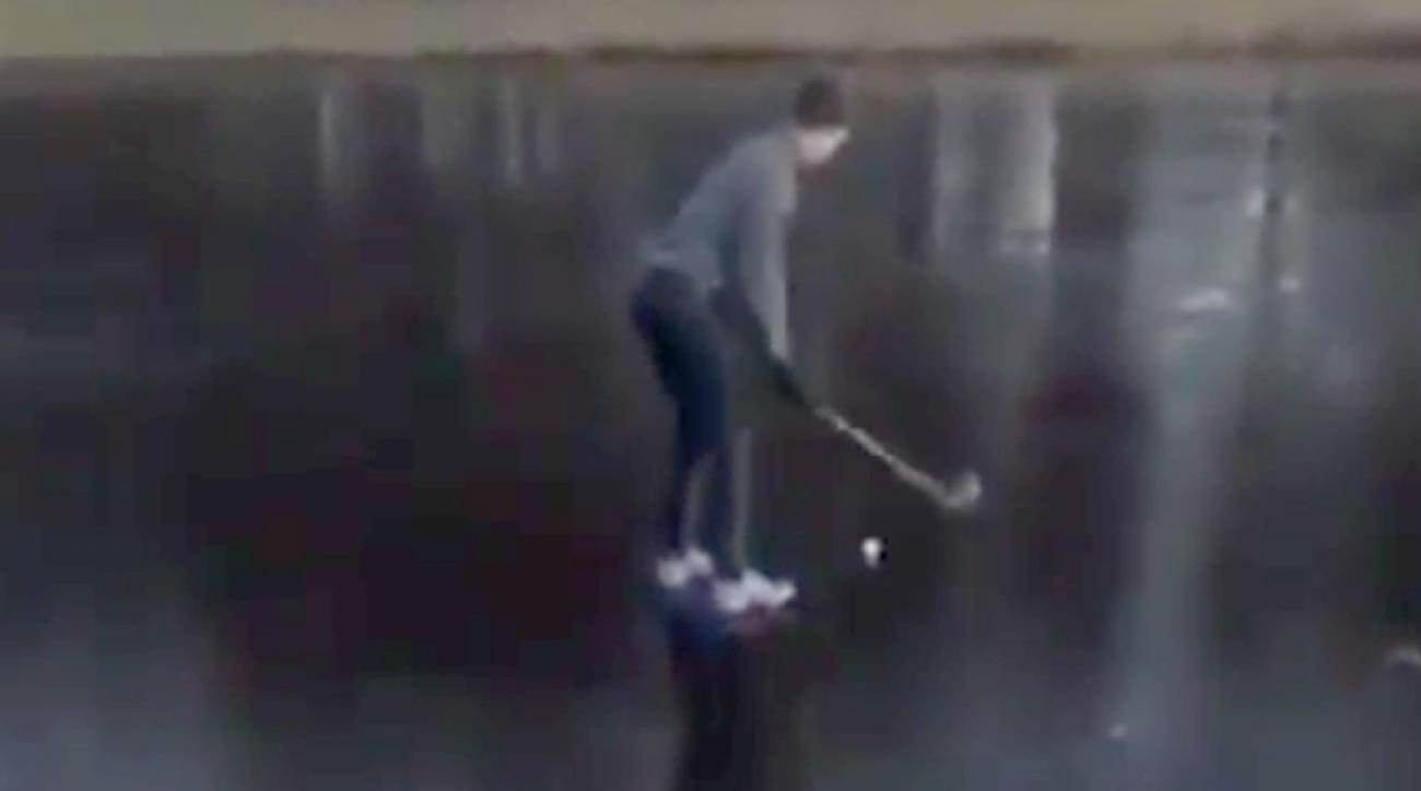 One brave golfer's attempt to save strokes ends in worst way imaginable.