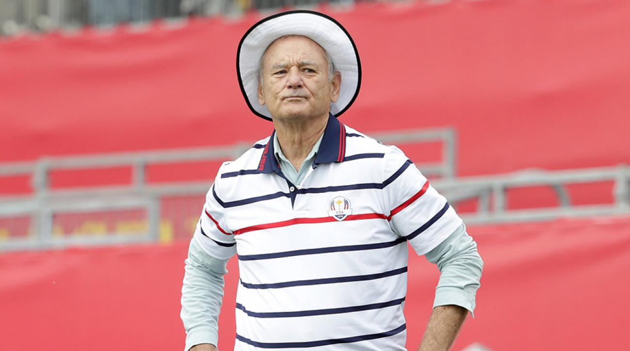 Actor Bill Murray prepares to hit off the first tee during the 2016 Ryder Cup Celebrity Matches at Hazeltine National Golf Club on September 27, 2016.