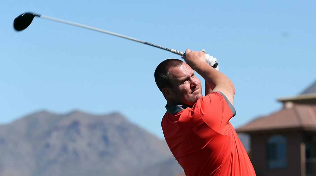 Quarterback Ben Roethlisberger of the Pittsburgh Steelers drives a golf ball during the Arizona Celebrity Golf Classic benefitting the Arians Family Foundation on March 8, 2014.