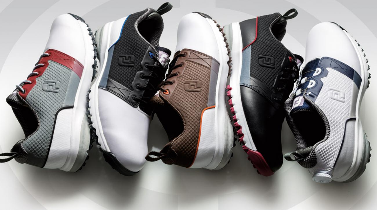 An array of FootJoy's new CountourFIT golf shoes.