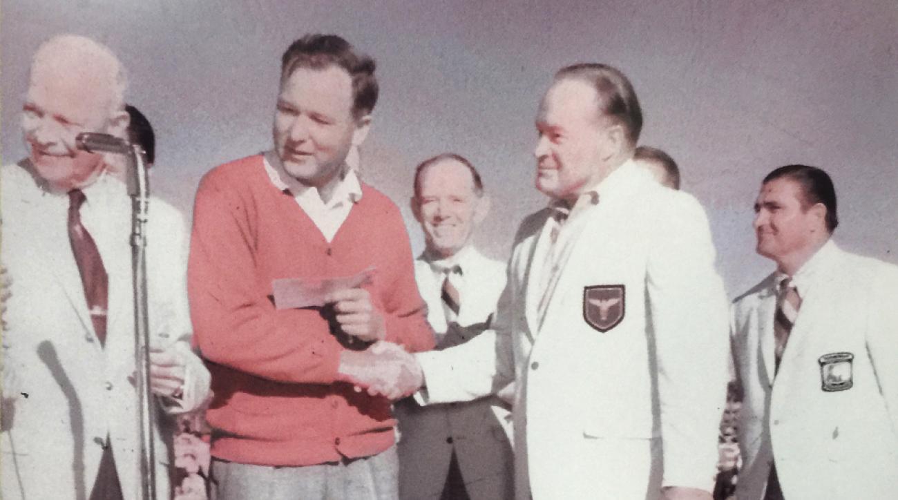 After winning the 1967 Bob Hope Desert Classic, Tom Nieporte accepted the trophy from Hope, right, and President Eisenhower, far left. Nieporte is the last club pro to win a PGA Tour event.