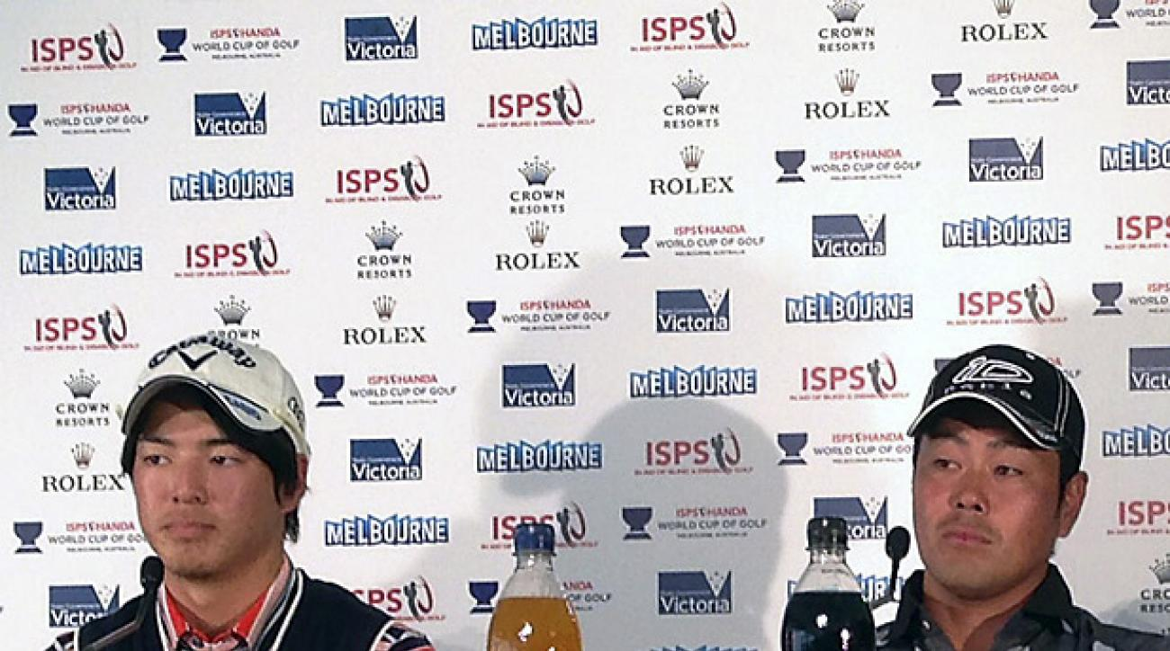 Ryo Ishikawa (left) and Hideto Tanihara represented Japoan at this year's World Cup. They have no connection to the PGA of Japan's recent problems.