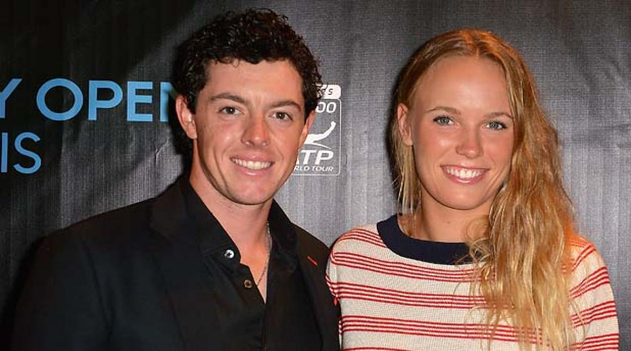 MIAMI, FL - MARCH 19:  Rory McIlroy and Caroline Wozniacki arrives at Sony Open Player Party 2013 at JW Marriott Marquis on March 19, 2013 in Miami, Florida.  (Photo by Gustavo Caballero/Getty Images)