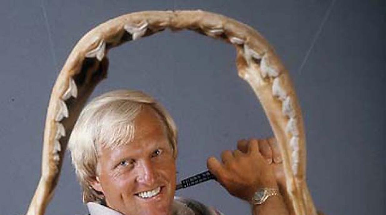 Golf:  Portrait of Greg Norman inside jaws of a shark.  Photo was taken during 1986 PGA Championships.                                  Credit: John Iacono                 SetNumber: X33503 TK3 R6 F5