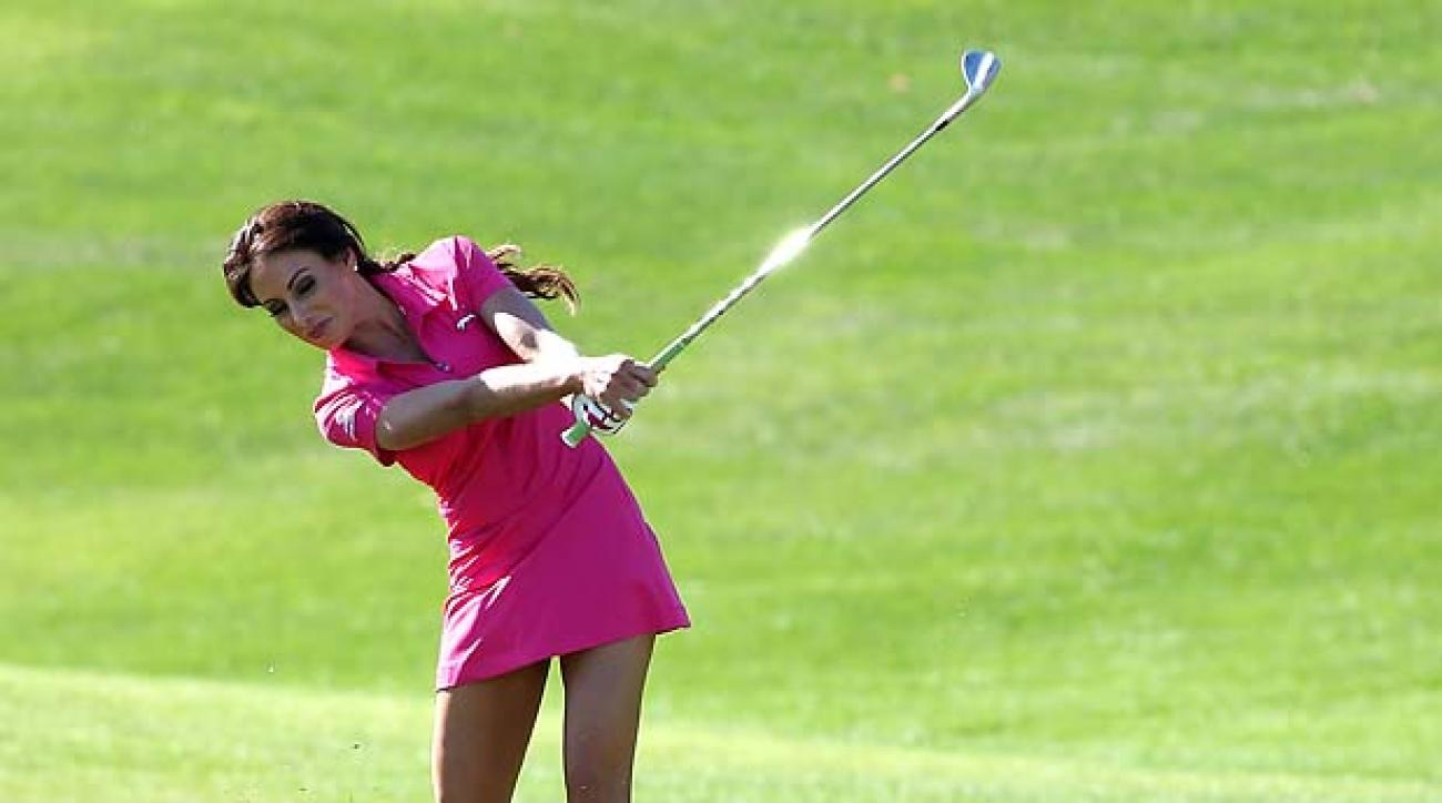LA QUINTA, CA - JANUARY 18:  Holly Sonders hits from the fairway on the second hole during the third round of the Humana Challenge in partnership with the Clinton Foundation on the Palmer Private course at PGA West on January 18, 2014 in La Quinta, California.  (Photo by Stephen Dunn/Getty Images)